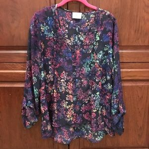 Navy floral high-low sheer top size M